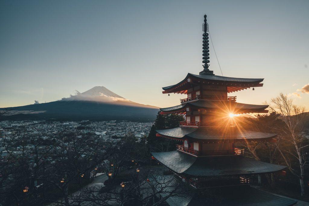 Blick über Stadt Japan